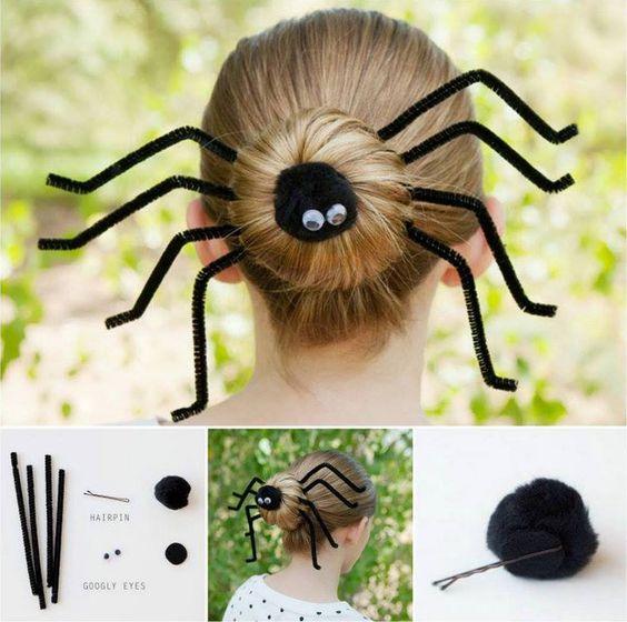 halloween peinado moño de araña niña paso a paso