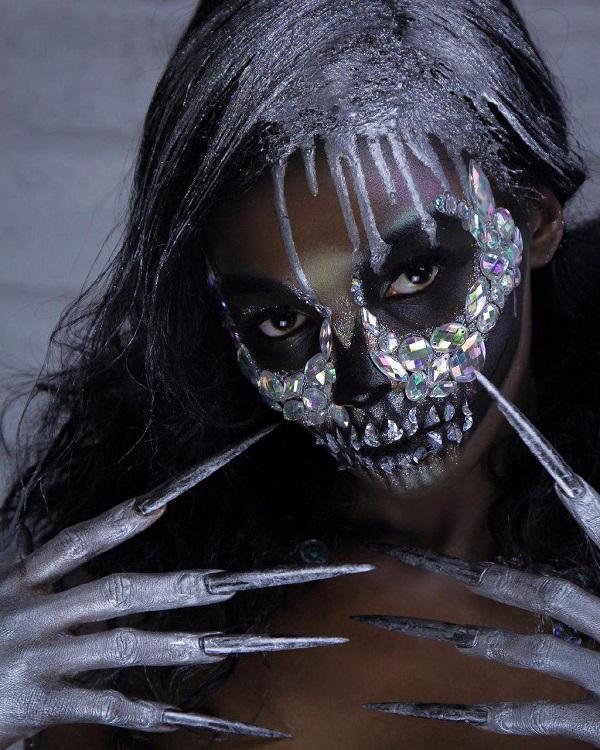 calavera un esqueleto peinado halloween