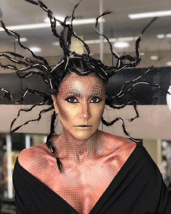 peinado de meduza gorgona para halloween