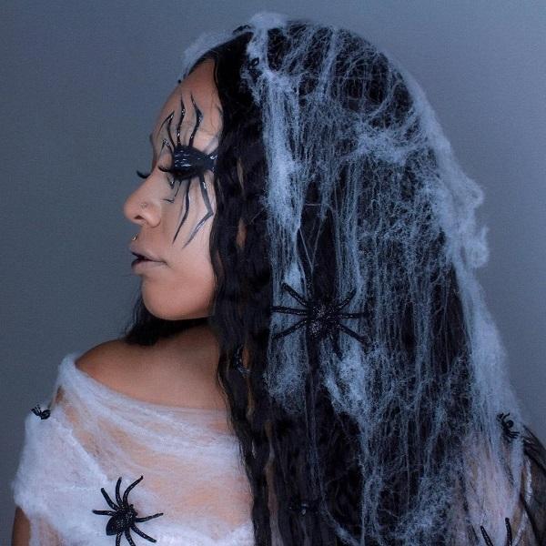 peinado de telaraña halloween