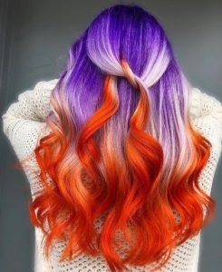 bicolor peinado pelo para halloween
