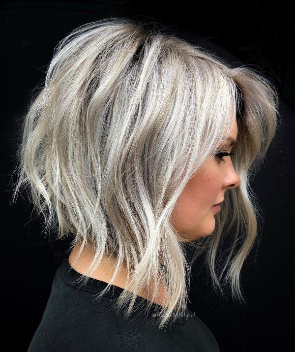 pelo bob blanco gris